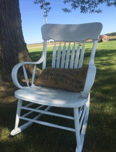 Burlap Pillow and Rocking Chair