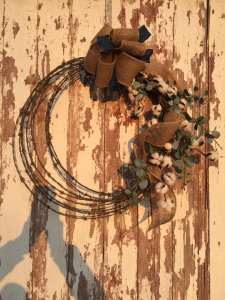 Cotton and Eucalyptus Barb Wire Wreath