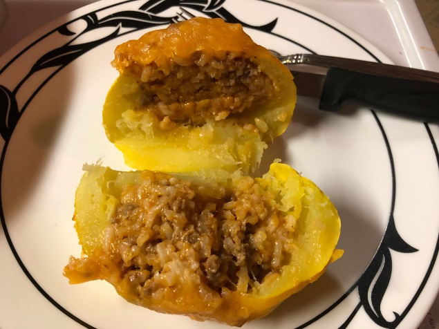 Enjoy! Serve with sides - or more stuffing. I used a knife to cut through the flesh of the squash but they are soft from cooking so may be able to use a fork.